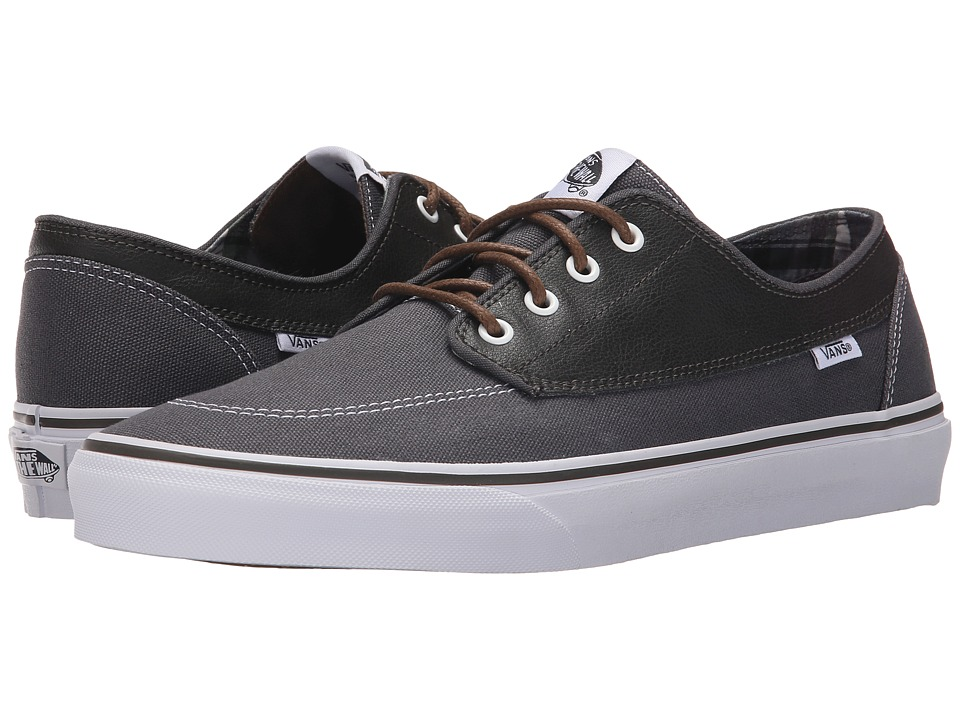 Vans Brigata ((Leather/Plaid) Asphalt/Beluga) Skate Shoes