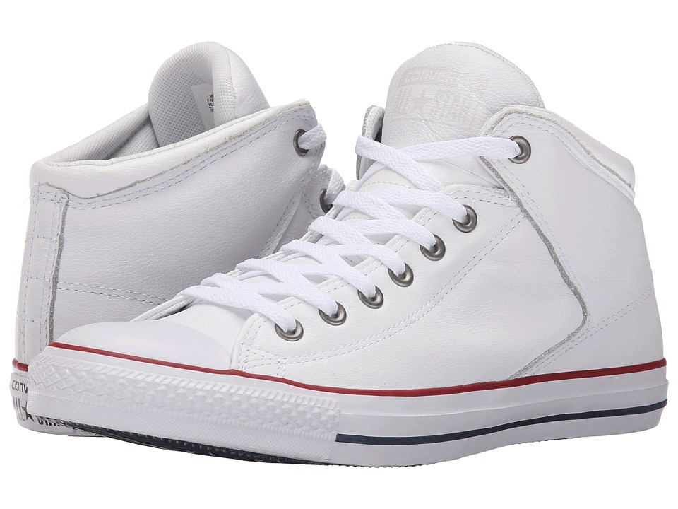 Converse - Chuck Taylor All Star Hi Street Car Leather Motorcycle Leather (White/Garnet/White) Men's Lace up casual Shoes
