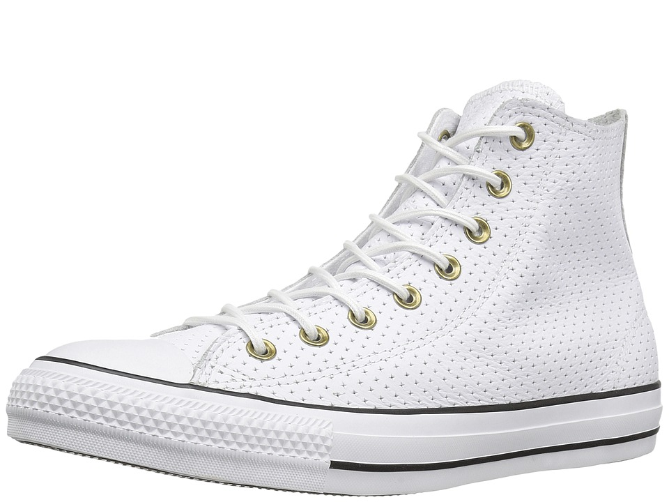 Converse - Chuck Taylor All Star Car Leather Motorcycle Leather Hi (White/Biscuit/Black) Men's Lace up casual Shoes