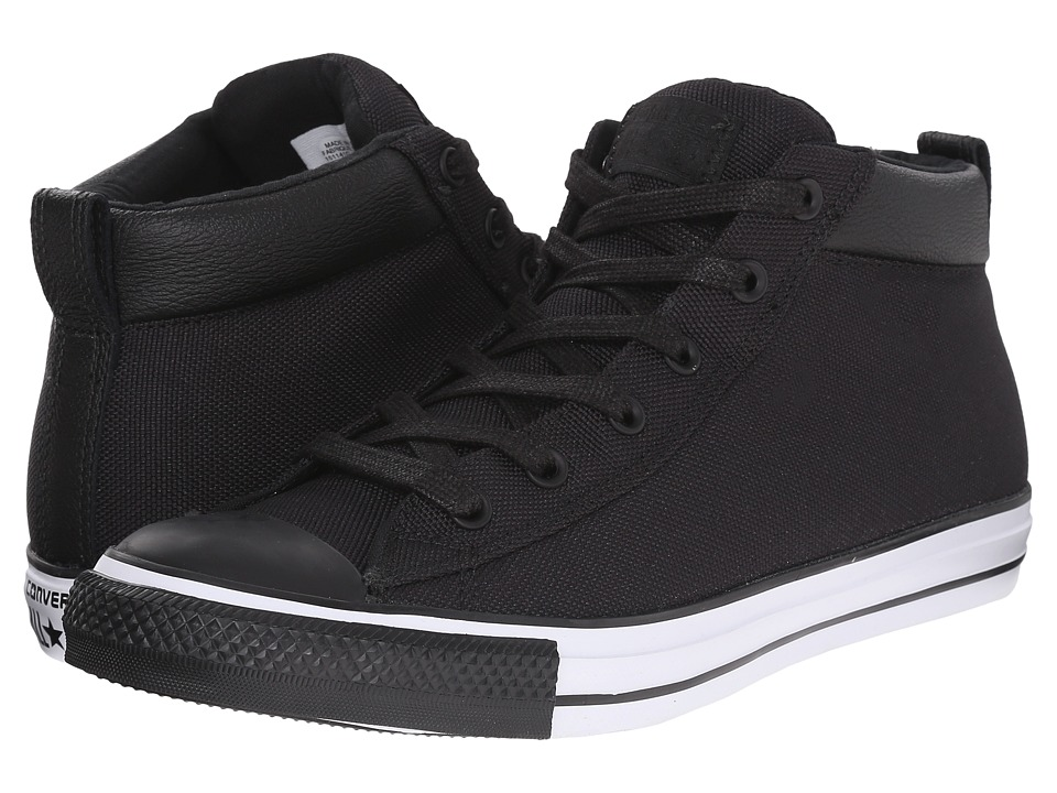 Converse - Chuck Taylor All Star Street Nylon Leather Hi (Black/Black/White) Lace up casual Shoes