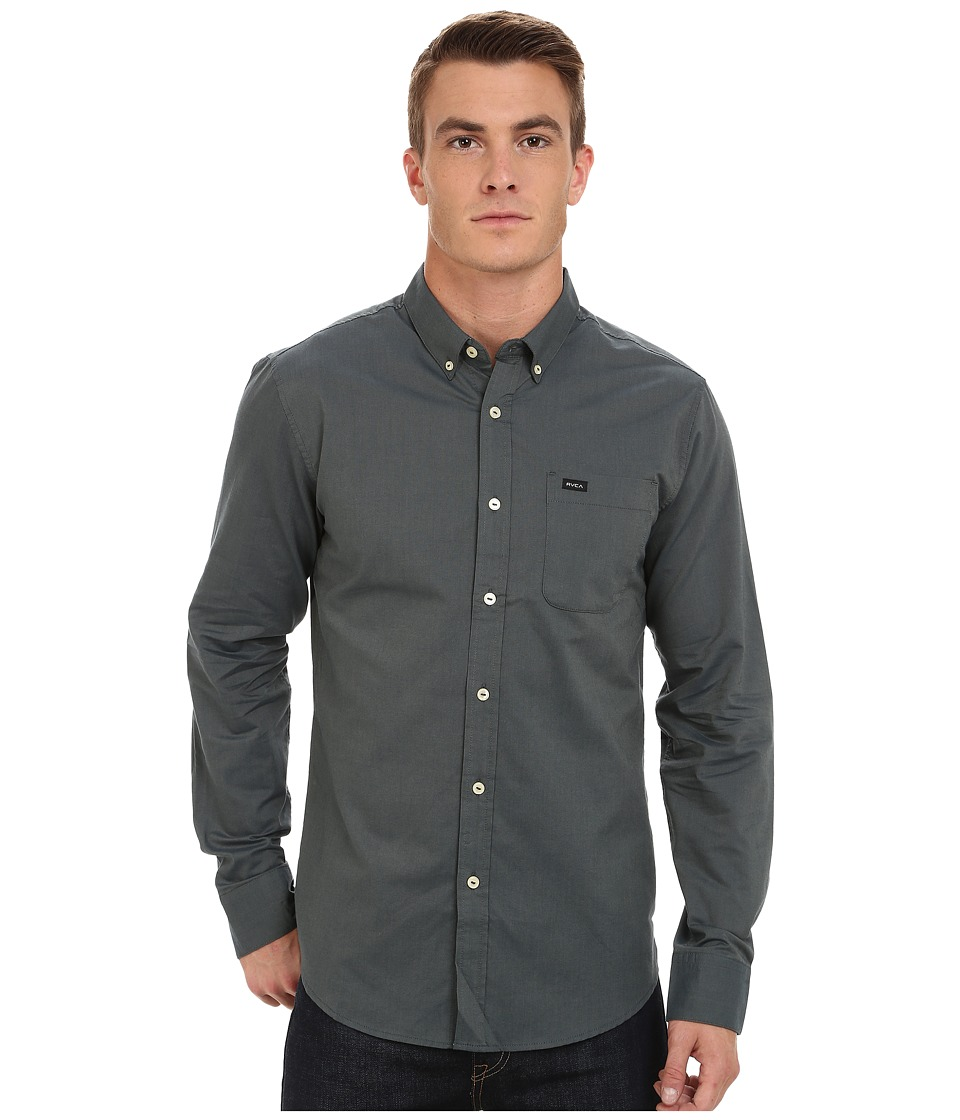 RVCA - That'll Do Oxford Long Sleeve (Iron) Men's Long Sleeve Button Up