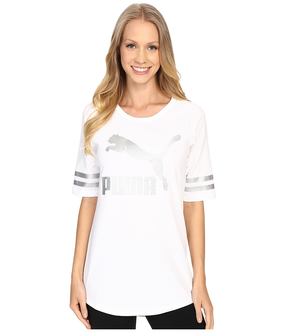 PUMA - 3/4 Sleeve Raglan Tunic (White) Women's T Shirt