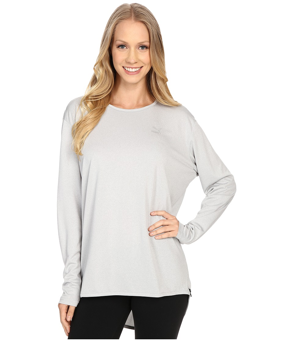 PUMA - Print Long Sleeve Top (Light Gray Heather) Women's Long Sleeve Pullover