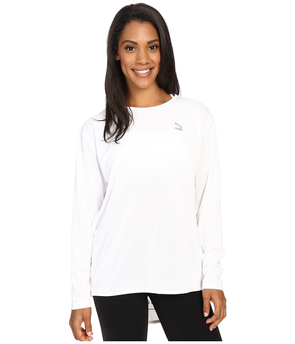 PUMA - Print Long Sleeve Top (White) Women's Long Sleeve Pullover