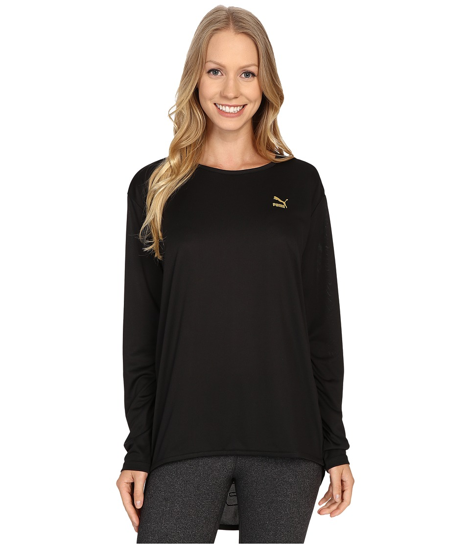 PUMA - Print Long Sleeve Top (Black) Women's Long Sleeve Pullover