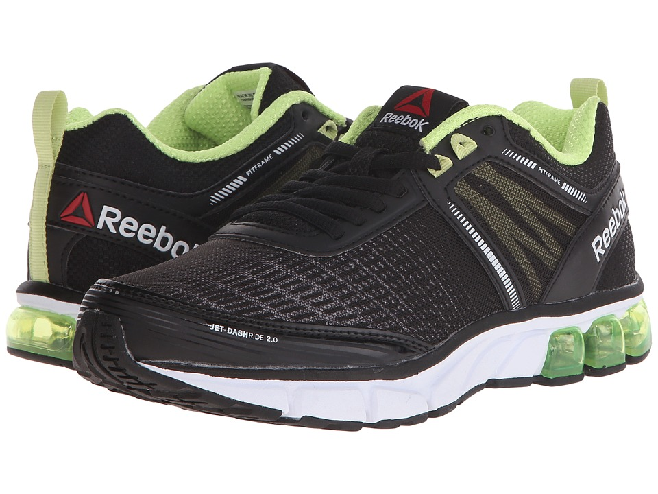 Reebok Jet Dashride 2.0 (Black/White/Luminous Lime/Seafoam Green) Women