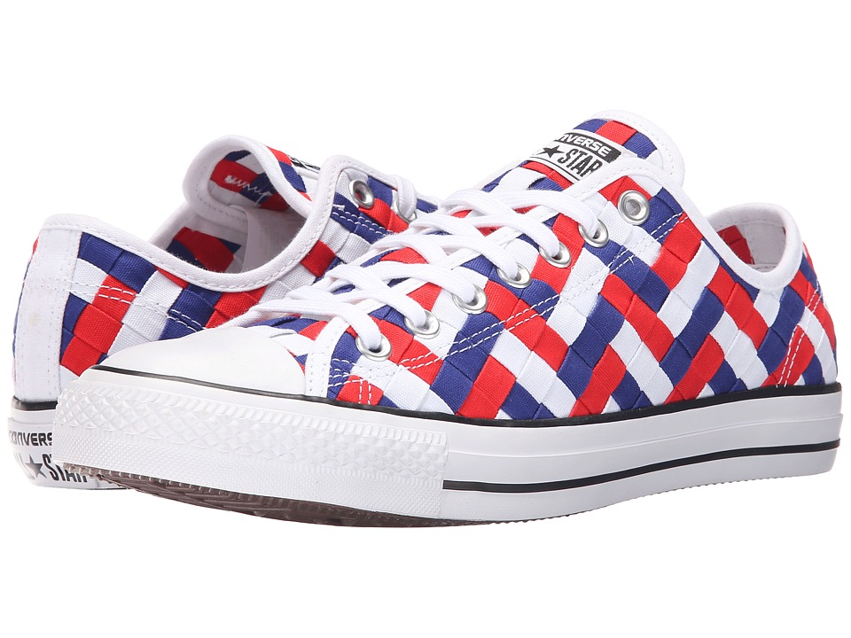 Converse - Chuck Taylor All Star Woven Ox (White/Clematis Blue/Red) Athletic Shoes