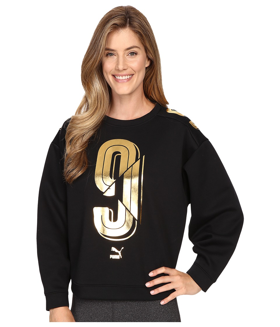 PUMA - Number 9 Crew Sweater (Black) Women's Long Sleeve Pullover