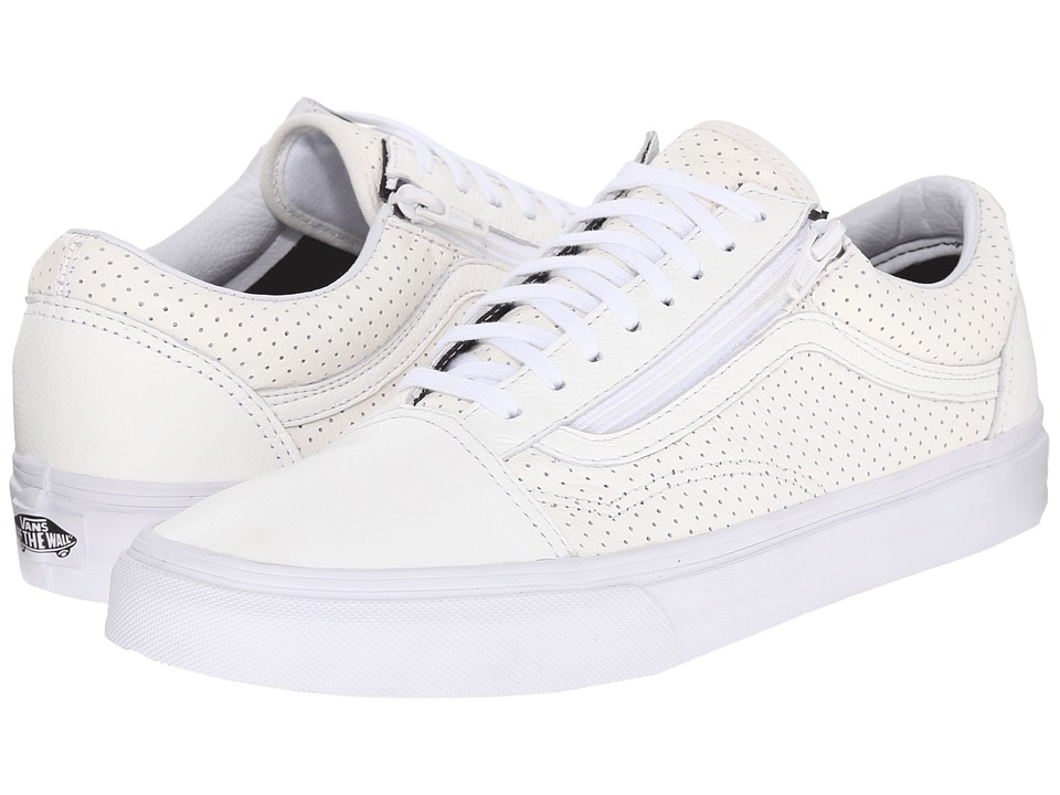 Vans Old Skool Zip ((Perf Leather) True White) Lace up casual Shoes