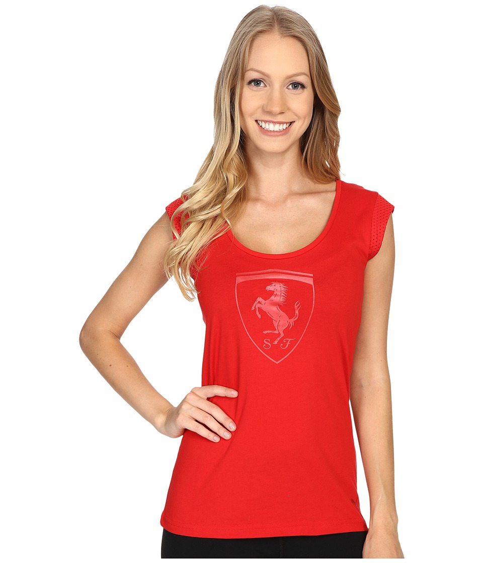 PUMA - Ferrari Big Shield Tee (Rosso Corsa) Women's T Shirt