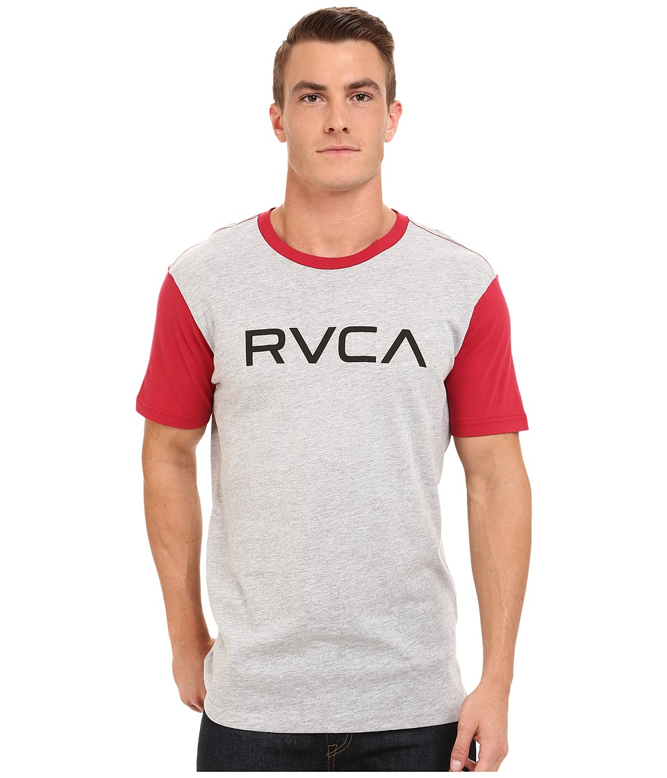 RVCA - Big RVCA Baseball Tee (Athletic Heather/Red) Men's T Shirt