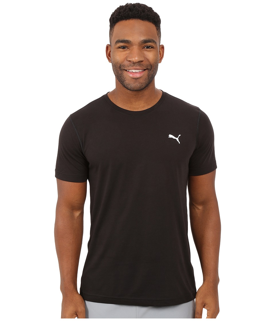 PUMA - Essential Short Sleeve Crew (Black/White) Men's Short Sleeve Pullover