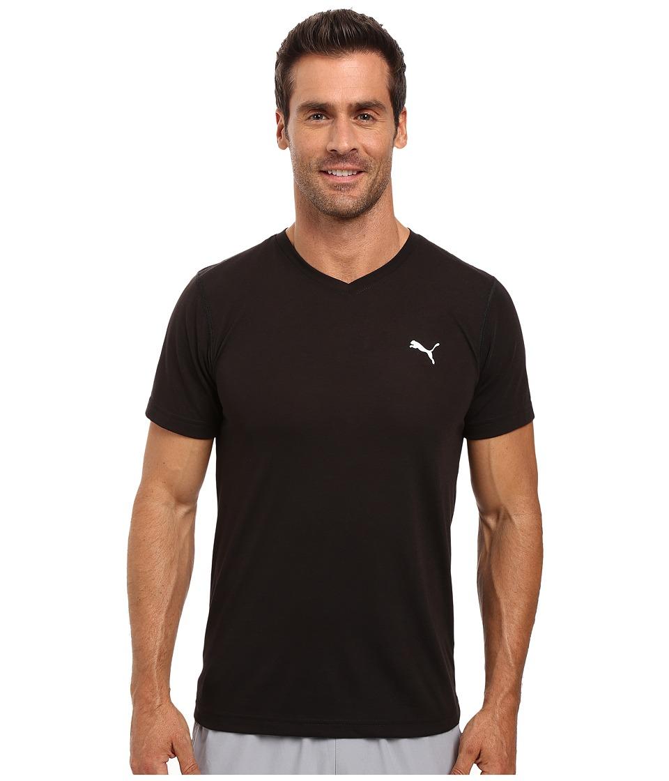 PUMA - Essential S/S V-Neck (Black/White) Men's Short Sleeve Pullover
