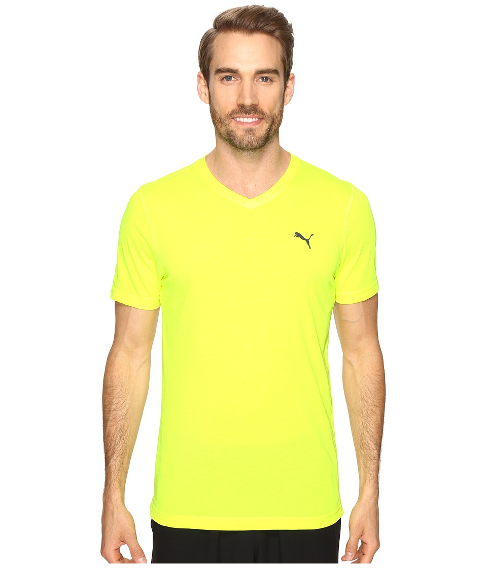 PUMA - Essential S/S V-Neck (Safety Yellow) Men's Short Sleeve Pullover