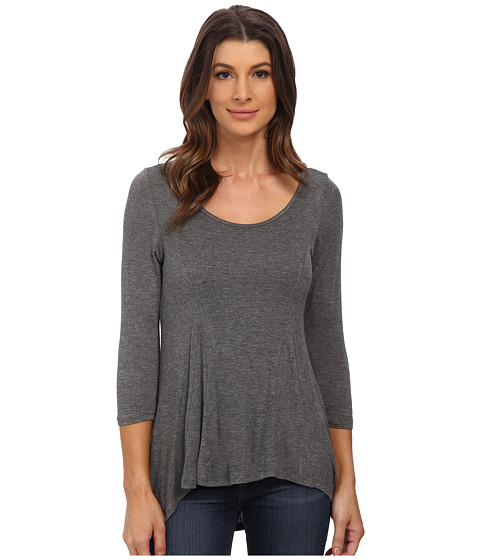 Pink Rose - Long Sleeve Scoop Neck Baby Hacci Top (Medium Heather Grey) Women