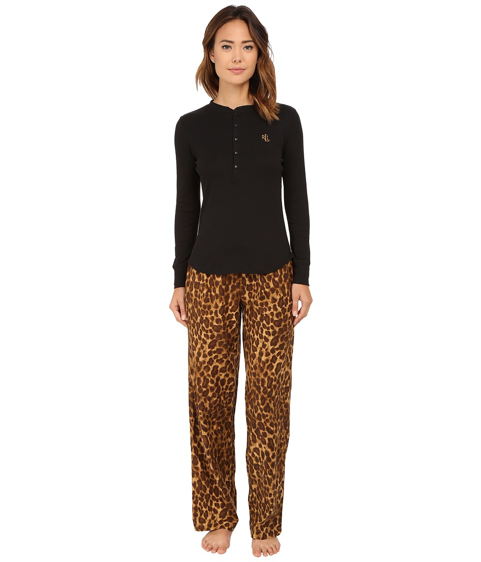 LAUREN Ralph Lauren - Folded Knit Top/Woven Pants PJ Set (Nilsson Leopard) Women's Pajama Sets