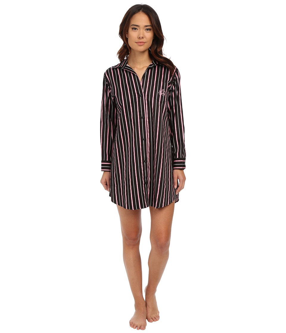 LAUREN Ralph Lauren - Sateen His Shirt (Audrey Stripe Black/Silk White/Pink) Women's Pajama
