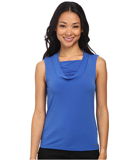 Calvin Klein - Double Layer Drape Neck Cami (Electric Blue) Women