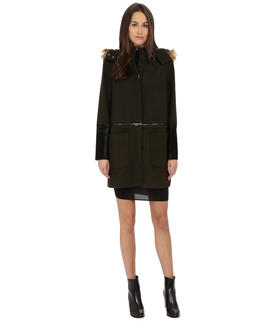 ZAC Zac Posen - Parker Mixed Media Zip Wool Coat (Galactic Green) Women's Coat