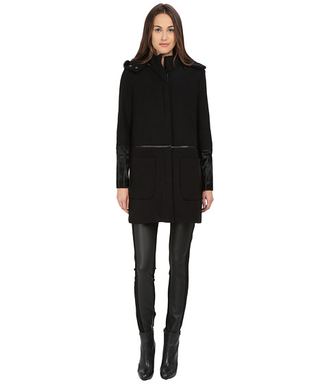 ZAC Zac Posen - Parker Mixed Media Wool Coat (Onyx) Women's Coat