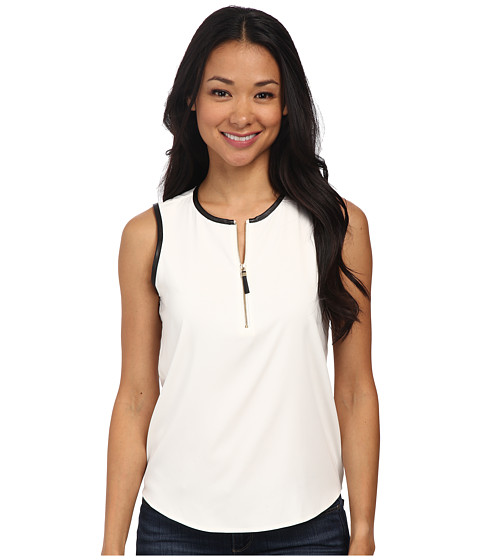 Calvin Klein - Sleeveless Zip Front Blouse w/ Black Piping (Eggshell/Black) Women's Blouse