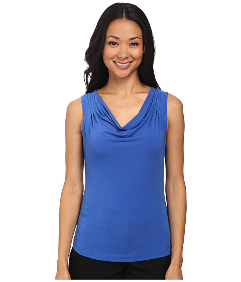 Calvin Klein - Solid Drape Neck Cami (Electric Blue) Women's Sleeveless