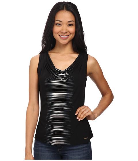 Calvin Klein - Stripe Drape Neck Cami (Black/Eggshell) Women