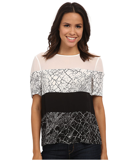 BCBGMAXAZRIA - Caleste Woven Top (Black/Comb) Women's Clothing