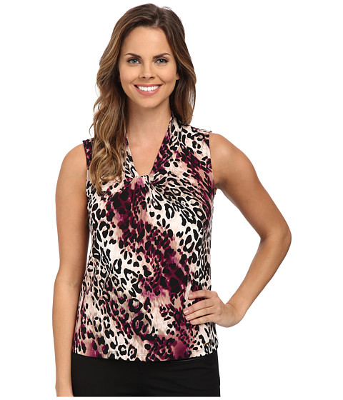 Calvin Klein - Leopard Animal Print Knot Front Cami (Aubergine Multi) Women's Sleeveless