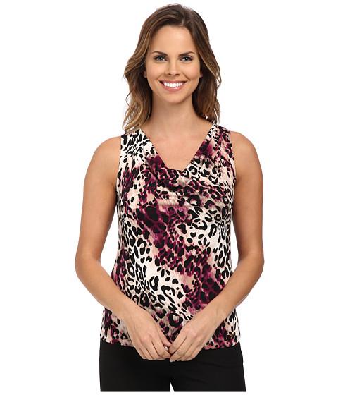 Calvin Klein - Leopard Animal Print Drape Neck Cami (Aubergine Multi) Women