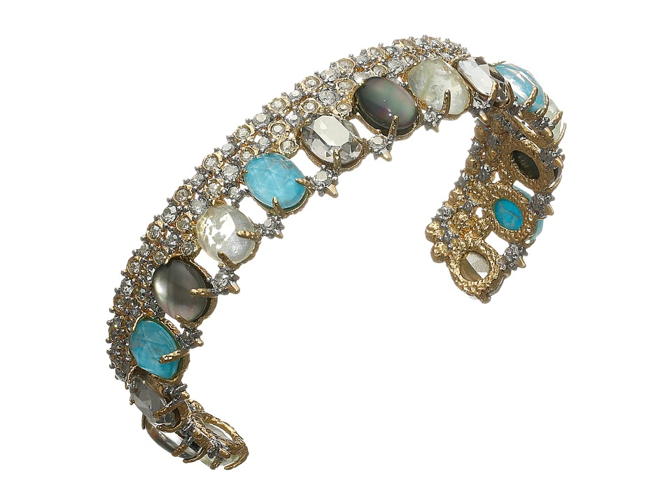 Alexis Bittar - Crystal Lace Cuff w/ Custom Cut Stones Bracelet (14K Gold/Rhodium) Bracelet