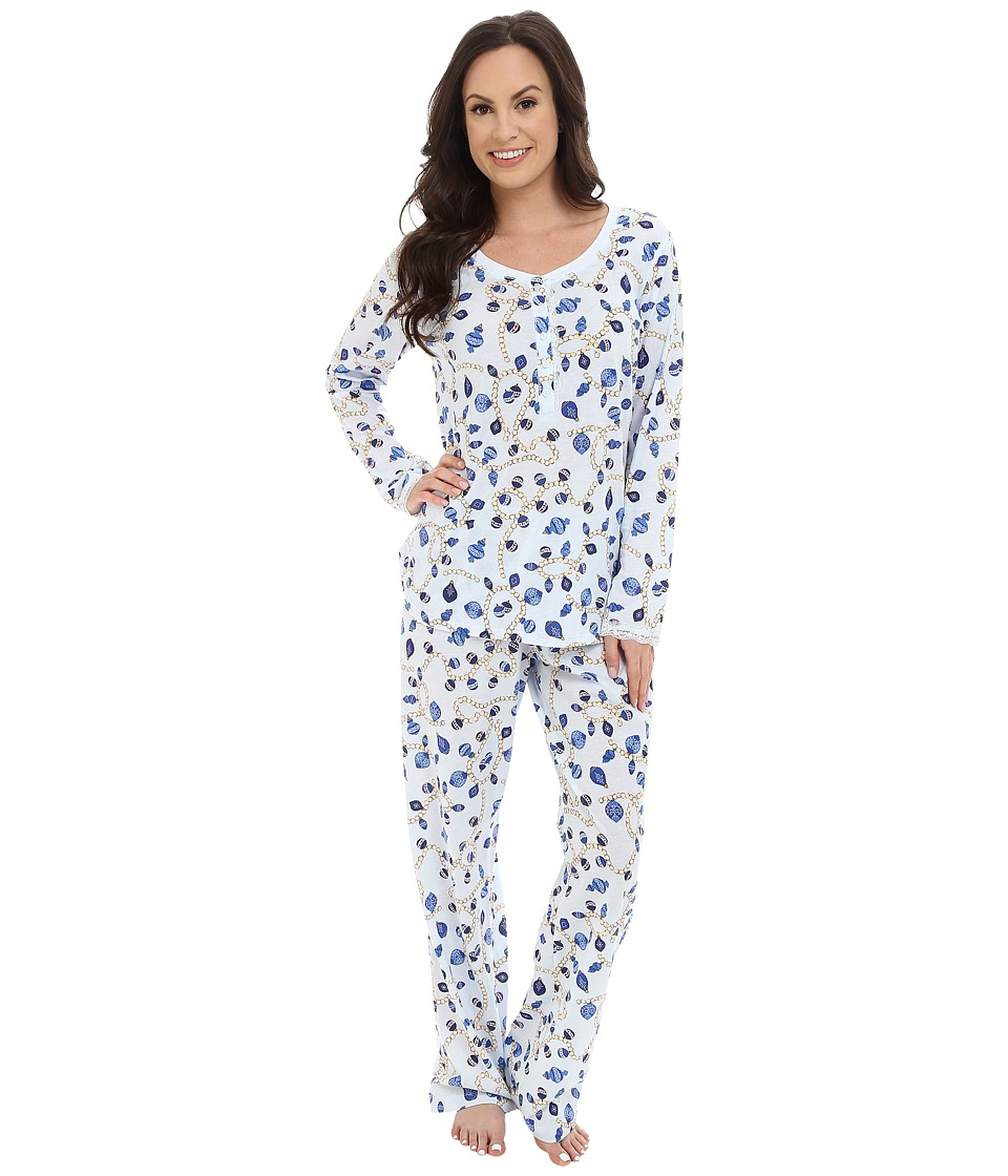 Carole Hochman - Key Item Pajama (Holiday Pearls/Blue) Women's Pajama Sets