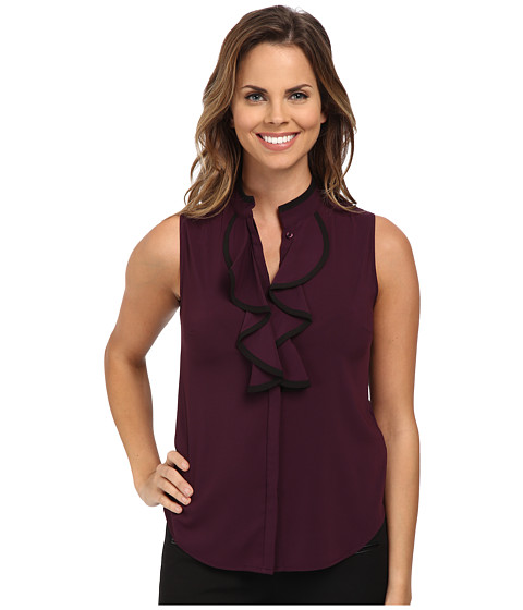 Calvin Klein - Sleeveless Ruffle Front Blouse w/ Black Piping (Aubergine/Black) Women's Blouse