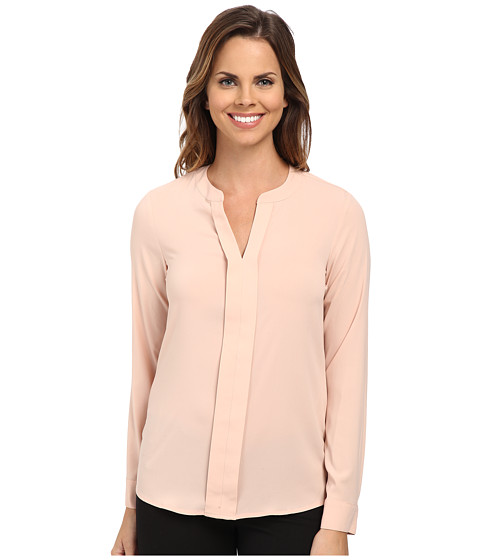 Calvin Klein - Solid Long Sleeve Blouse V-Neck Blouse (Blush) Women