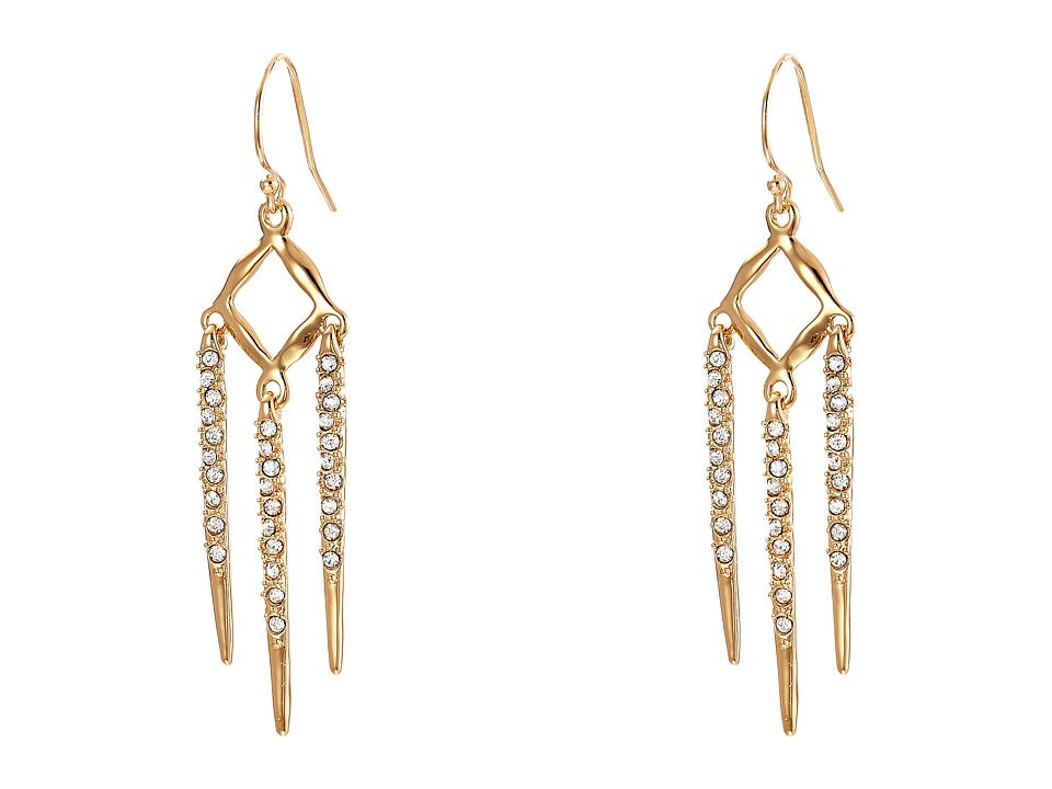 Alexis Bittar - Dainty Diamond Shape Wire w/ Encrusted Metal Fringe Earrings (10K Gold) Earring