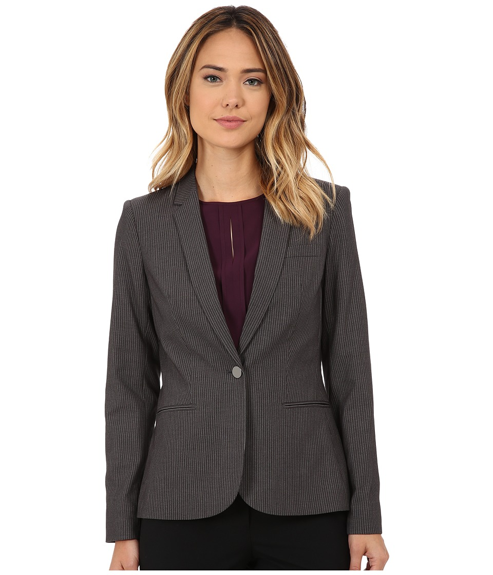 Calvin Klein - Pin Stripe One Button Jacket (Charcoal/White) Women's Coat