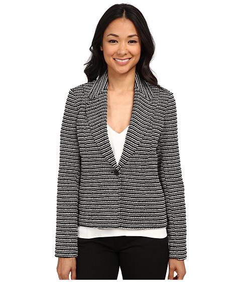 Calvin Klein - Striped One Button Novelty Jacket (Black/White) Women's Coat