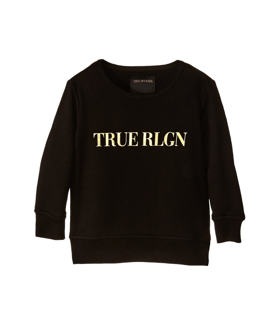True Religion Kids - Gold Foil 3/4 Fleece Sweatshirt (Toddler/Little Kids) (Black) Girl