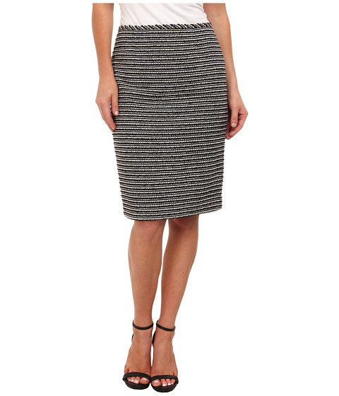Calvin Klein - Striped Novelty Straight Skirt (Black/White) Women's Skirt
