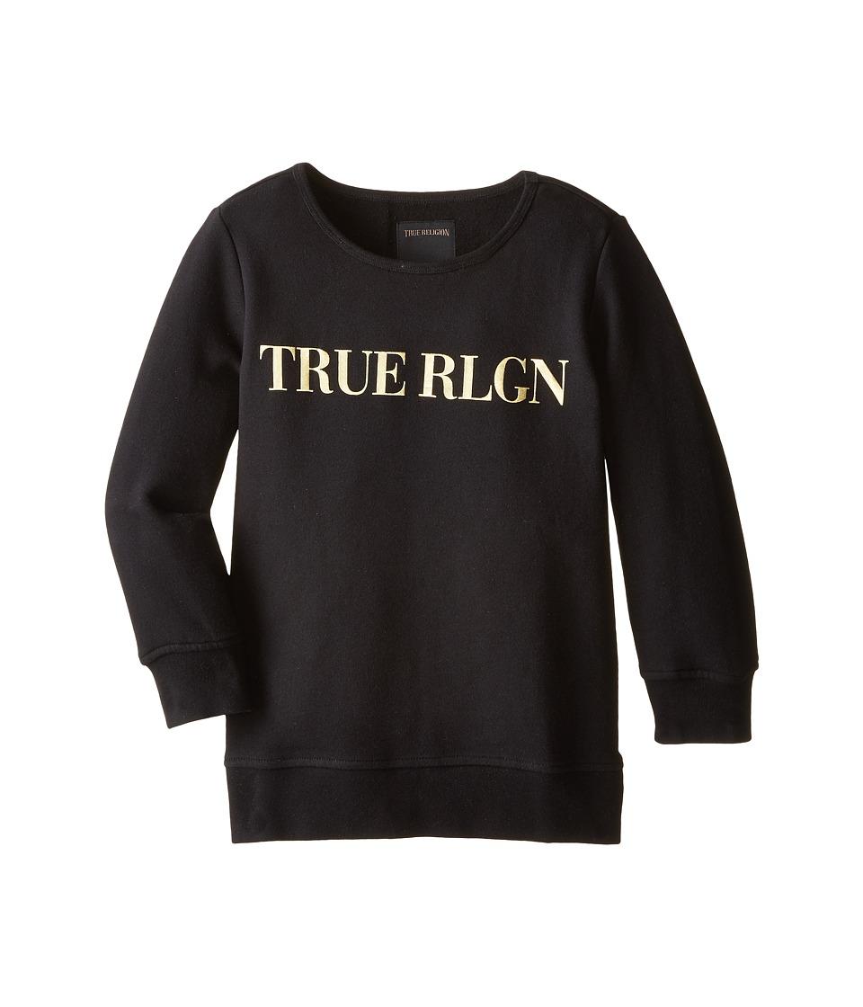 True Religion Kids - Gold Foil 3/4 Fleece Sweatshirt (Big Kids) (Black) Girl