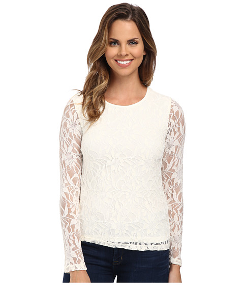 Calvin Klein - Long Sleeve Lace Top (Eggshell) Women's Clothing