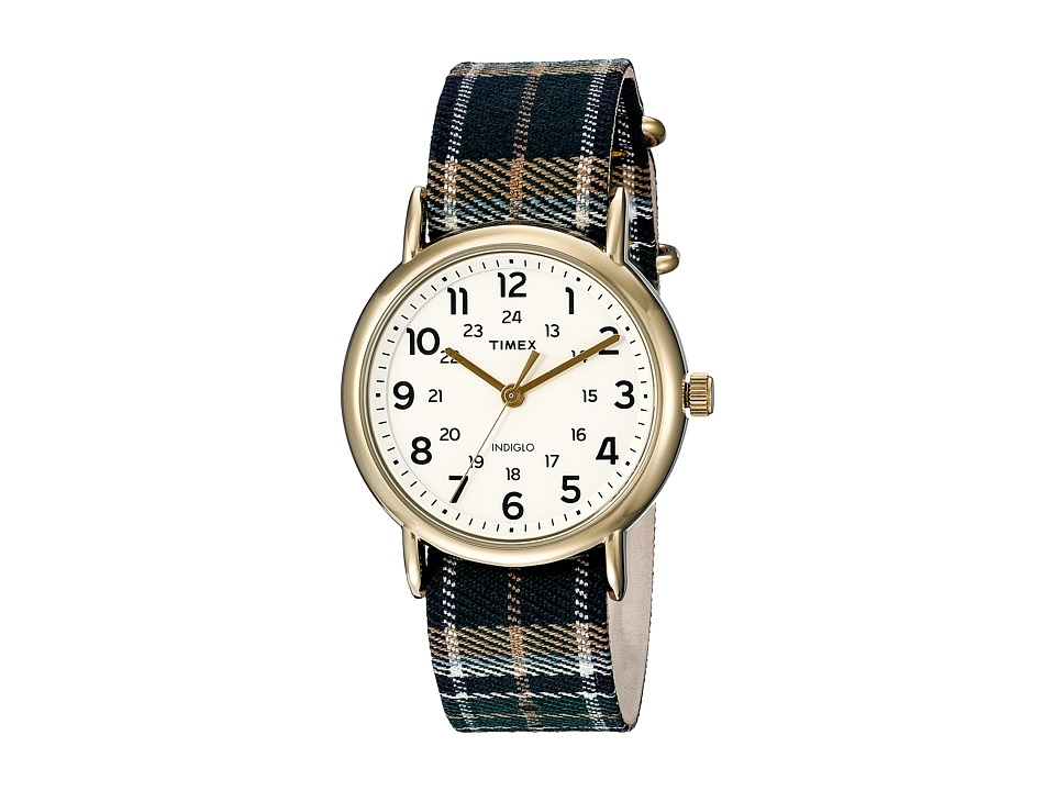 Timex - Weekender Slip-Thru (Gold-Tone/Blue Plaid) Watches