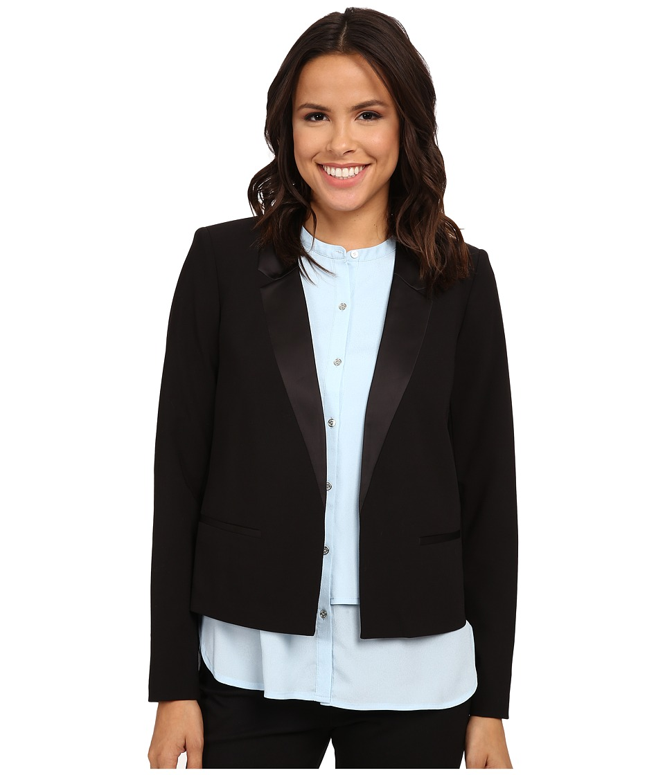 Calvin Klein - Satin Detail Jacket (Black) Women's Jacket