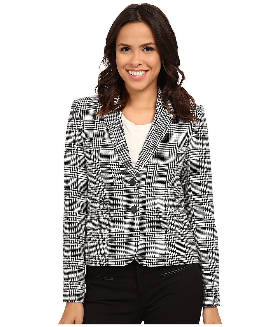 Calvin Klein - Plaid Two Button Jacket (Black/Eggshell) Women's Jacket