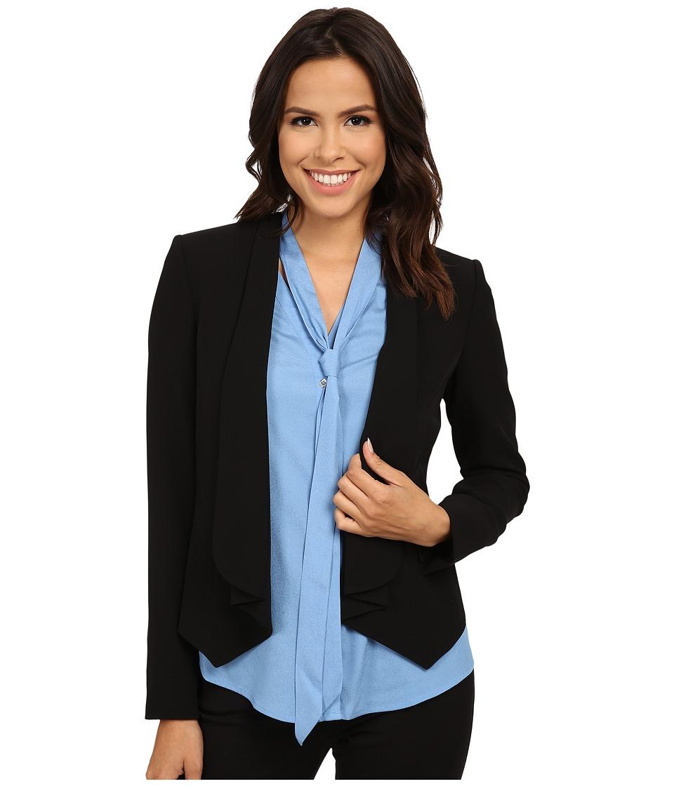 Calvin Klein - Open Short Front Soft Suiting Jacket (Black) Women's Coat plus size,  plus size fashion plus size appare