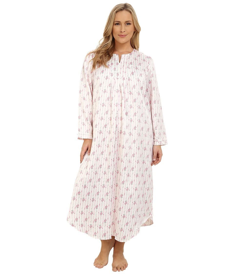Carole Hochman - Plus Size Packaged Brush Back Satin Long Gown (Ribbon Wallpaper Stripe/Pink/Ivory) Women's Pajama