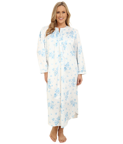 Carole Hochman - Plus Size Packaged Brush Back Satin Long Gown (Cascading Floral/Ivory/Blue) Women's Pajama