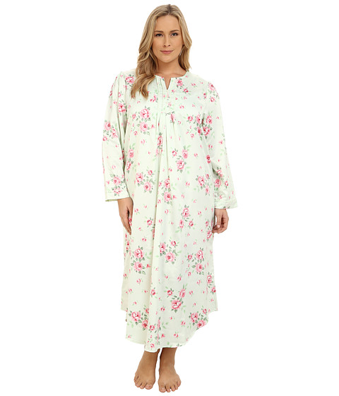 Carole Hochman - Plus Size Packaged Brush Back Satin Long Gown (Cascading Floral/Celadon) Women's Pajama