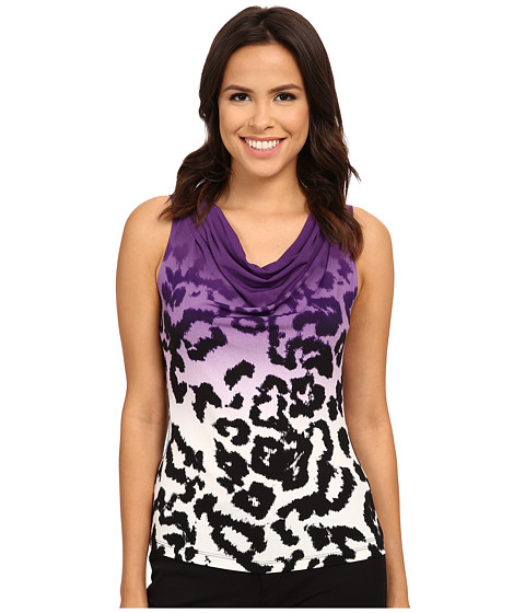 Calvin Klein - Animal Printed Illusion Drape Neck Cami (Night Multi) Women's Sleeveless
