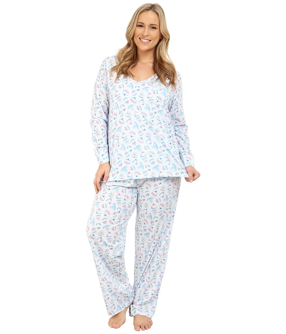 Carole Hochman - Plus Size Packaged Key Item Pajama (Sweet Treats/Blue) Women's Pajama Sets
